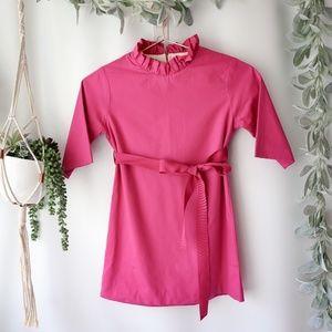 Mia Joy Pink ruffle neck dress girls short 0556